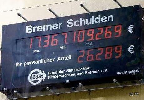 alte Bremer Schuldenuhr-Stand Januar 2011